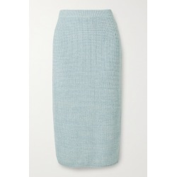 Adam Lippes - Ribbed Wool, Silk And Cashmere-blend Midi Skirt - Sky blue found on MODAPINS from NET-A-PORTER for USD $790.00