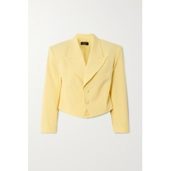 De La Vali - Freida Cropped Woven Blazer - Pastel yellow found on MODAPINS from NET-A-PORTER UK for USD $639.37