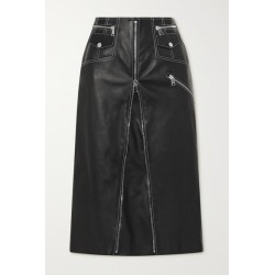 Alexander McQueen - Zip-embellished Topstitched Leather Midi Skirt - Black found on Bargain Bro UK from NET-A-PORTER UK