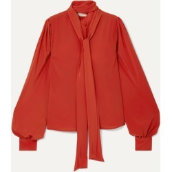Antonio Berardi - Pussy-bow Crepe Blouse - Orange found on MODAPINS from NET-A-PORTER UK for USD $760.81