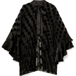 Anna Sui - Daisy Delight Satin-trimmed Flocked Chiffon Kimono - Black found on MODAPINS from NET-A-PORTER UK for USD $766.14
