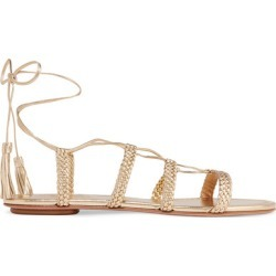 Aquazzura - Stromboli Braided Metallic Leather Sandals - Gold found on MODAPINS from NET-A-PORTER for USD $650.00