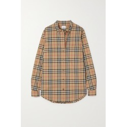 BURBERRY - Checked Cotton-blend Shirt - Neutrals found on Bargain Bro India from NET-A-PORTER for $470.00