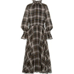 Beaufille - Shirred Checked Cotton And Silk-blend Maxi Dress - Brown found on MODAPINS from NET-A-PORTER UK for USD $431.81