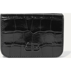 Balenciaga - Bb Mini Glossed Croc-effect Leather Wallet - Black found on Bargain Bro Philippines from NET-A-PORTER for $425.00