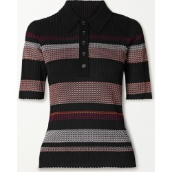 Proenza Schouler - Striped Ribbed-knit Polo Shirt - Black found on Bargain Bro UK from NET-A-PORTER UK