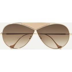 Loewe - Puzzle Medium Aviator-style Gold-tone And Leather Sunglasses - One size found on Bargain Bro UK from NET-A-PORTER UK