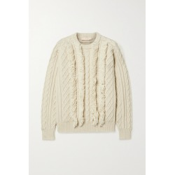 Tory Burch - Fringed Cable-knit Wool Sweater - Ivory found on Bargain Bro UK from NET-A-PORTER UK