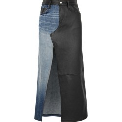 AMIRI - Asymmetric Denim And Leather Midi Skirt - Black found on MODAPINS from NET-A-PORTER UK for USD $940.40