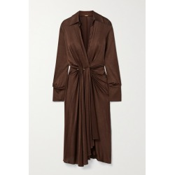 Dodo Bar Or - Lorenne Pleated Draped Stretch-satin Jersey Wrap Dress - Chocolate found on MODAPINS from NET-A-PORTER for USD $760.00