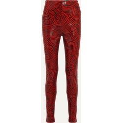Stand Studio - Pernille Teisbaek Tabitha Zebra-print Faux Leather Skinny Pants - Red