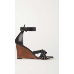Loewe - Gate Topstitched Leather Wedge Sandals - Black found on Bargain Bro UK from NET-A-PORTER UK