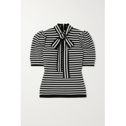 Michael Kors Collection - Pussy-bow Striped Cashmere-blend Top - Black found on Bargain Bro India from NET-A-PORTER for $890.00