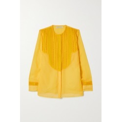 Rue Mariscal - + Net Sustain Cotton And Silk-blend Voile And Crochet Shirt - Yellow found on Bargain Bro UK from NET-A-PORTER UK
