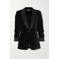 Alice Olivia - Macey Satin-trimmed Crushed-velvet Blazer - Black found on MODAPINS from NET-A-PORTER for USD $550.00