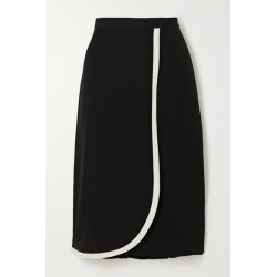 Alessandra Rich - Wrap-effect Two-tone Wool Skirt - Black found on MODAPINS from NET-A-PORTER for USD $592.50
