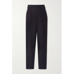 Akris - Striped Wool Straight-leg Pants - Midnight blue found on MODAPINS from NET-A-PORTER UK for USD $957.85