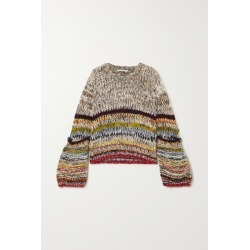 Stella McCartney - Button-detailed Striped Alpaca-blend Sweater - Gray found on Bargain Bro UK from NET-A-PORTER UK