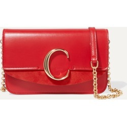 Chloé - Chloé C Mini Suede-trimmed Leather Shoulder Bag - Red found on Bargain Bro UK from NET-A-PORTER UK