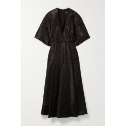 Brandon Maxwell - Gathered Printed Gazar Midi Dress - Black found on MODAPINS from NET-A-PORTER UK for USD $1468.86