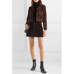 RE/DONE - 60s Cropped Two-tone Suede Jacket - Dark brown found on Bargain Bro India from NET-A-PORTER for $1295.00