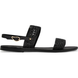 Ancient Greek Sandals - Dinami Woven Raffia And Leather Slingback Sandals - Black found on MODAPINS from NET-A-PORTER UK for USD $168.38