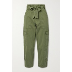Alex Mill - Expedition Cropped Belted Washed Stretch-cotton Slim-leg Pants - Green found on MODAPINS from NET-A-PORTER for USD $87.50