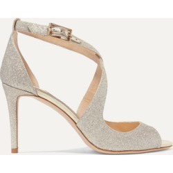 Jimmy Choo - Emily 85 Glittered Leather Sandals - Silver found on Bargain Bro UK from NET-A-PORTER UK