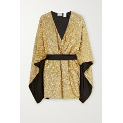 Redemption - Belted Sequined Cady Kaftan - Gold