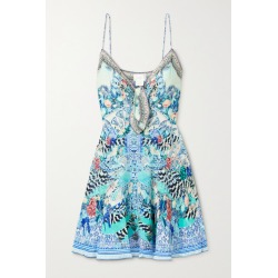 Camilla - Crystal-embellished Printed Silk Crepe De Chine Mini Dress - Blue found on MODAPINS from NET-A-PORTER for USD $259.60