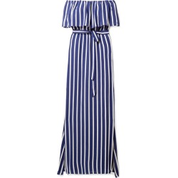 Alice Olivia - Grazi Off-the-shoulder Striped Voile Maxi Dress - Blue found on MODAPINS from NET-A-PORTER for USD $198.00