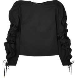 Antonio Berardi - Ruffled Lace-up Cotton-blend Poplin Blouse - Black found on MODAPINS from NET-A-PORTER for USD $299.00