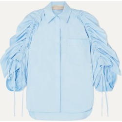 Antonio Berardi - Ruched Cotton-poplin Shirt - Blue found on MODAPINS from NET-A-PORTER UK for USD $583.70