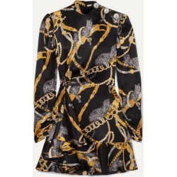 Alessandra Rich - Button-embellished Printed Silk-satin Mini Dress - Black found on MODAPINS from NET-A-PORTER for USD $1197.00