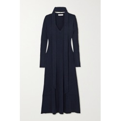 Chloé - Tie-neck Ribbed Wool And Silk-blend Midi Dress - Navy found on Bargain Bro UK from NET-A-PORTER UK