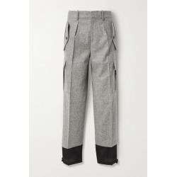 JW Anderson - Mélange Merino Wool And Cotton-twill Straight-leg Pants - Gray found on MODAPINS from NET-A-PORTER for USD $645.00