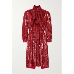 SAINT LAURENT - Pussy-bow Striped Sequined Silk-crepe Midi Dress - Red found on Bargain Bro UK from NET-A-PORTER UK