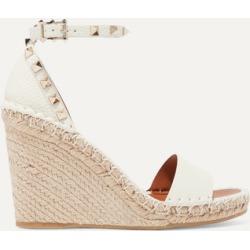 Valentino - Valentino Garavani The Rockstud Textured-leather Espadrille Wedge Sandals - Beige