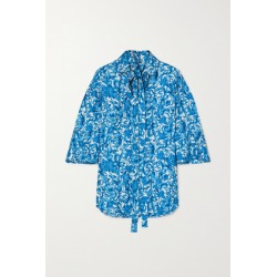 Valentino - Pussy-bow Printed Silk-twill Blouse - Blue found on Bargain Bro UK from NET-A-PORTER UK