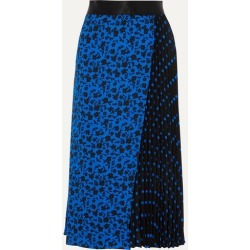 Alice Olivia - Lilia Asymmetric Pleated Printed Satin-trimmed Crepe De Chine Midi Skirt - Blue found on MODAPINS from NET-A-PORTER for USD $475.00