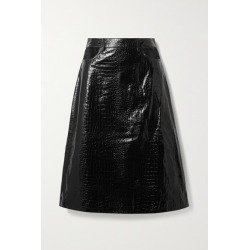 Dodo Bar Or - Perla Cutout Croc-effect Leather Skirt - Black found on MODAPINS from NET-A-PORTER for USD $270.00