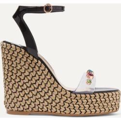 Sophia Webster - Dina Embellished Pvc And Patent-leather Espadrille Wedge Sandals - Black