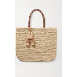 Kayu - Haven Tasseled Leather-trimmed Straw Tote - Neutral found on MODAPINS from NET-A-PORTER for USD $255.00