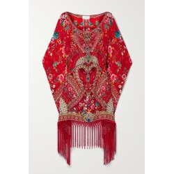 Camilla - Fringed Crystal-embellished Floral-print Silk Crepe De Chine Kaftan - Red found on MODAPINS from NET-A-PORTER for USD $579.00