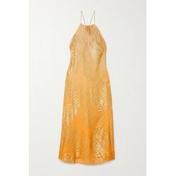 Marie France Van Damme - Metallic Fil Coupé Silk-blend Chiffon Dress - Orange found on MODAPINS from NET-A-PORTER UK for USD $2010.21