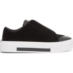 Alexander McQueen - Velvet And Leather Exaggerated-sole Sneakers - Black found on MODAPINS from NET-A-PORTER UK for USD $541.94