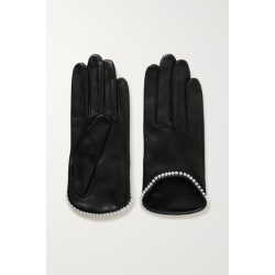 Agnelle - Sofia Faux Pearl-embellished Leather Gloves - Black found on MODAPINS from NET-A-PORTER UK for USD $87.69