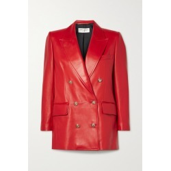 SAINT LAURENT - Double-breasted Leather Blazer - Red found on Bargain Bro UK from NET-A-PORTER UK