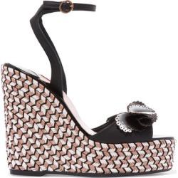 Sophia Webster - Soleil Lucita Leather Espadrille Wedge Sandals - Black