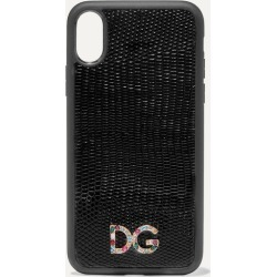 Dolce & Gabbana - Crystal-embellished Lizard-effect Leather Iphone X And Xs Phone Case - Black found on Bargain Bro UK from NET-A-PORTER UK